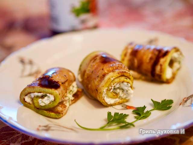 рулетики из кабачков с сыром