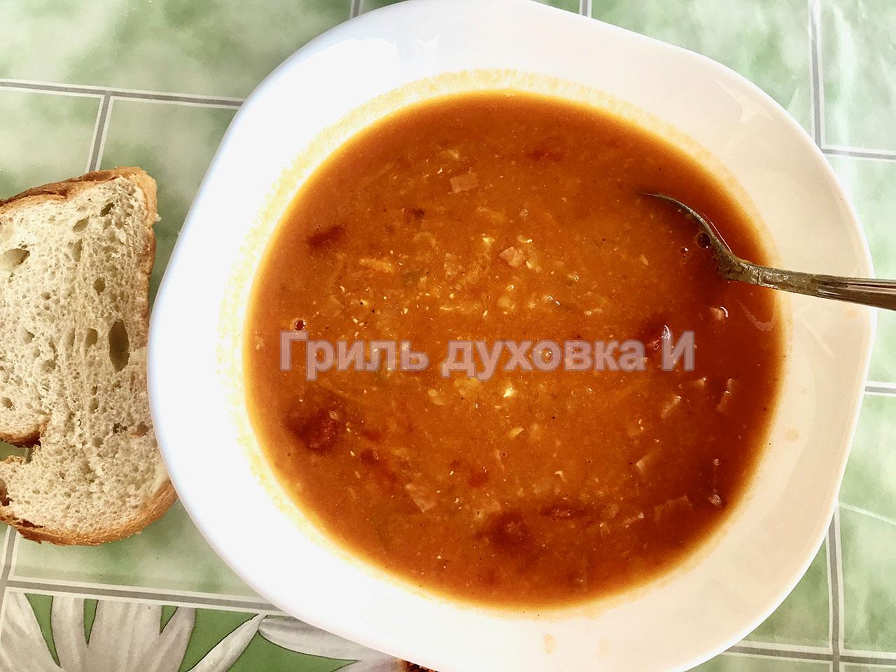 Вкусный суп из чечевицы.