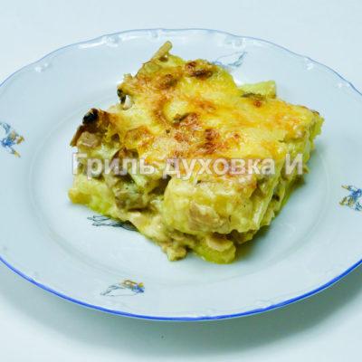 картофель с грибами и курицей