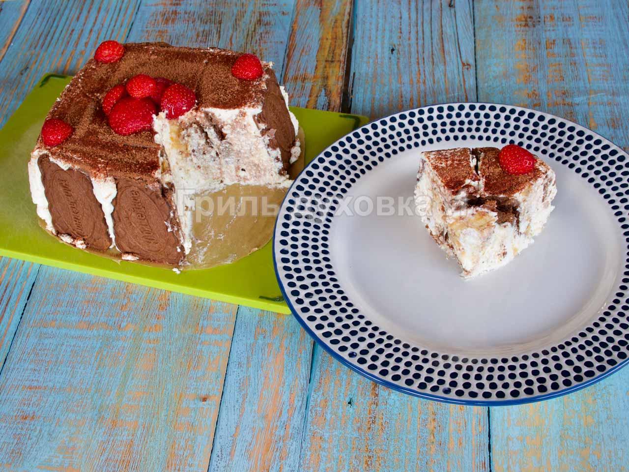 Торт из печенья без выпечки.